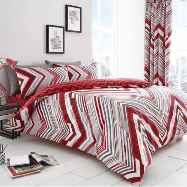 Austin Chevron Striped Duvet Cover Red