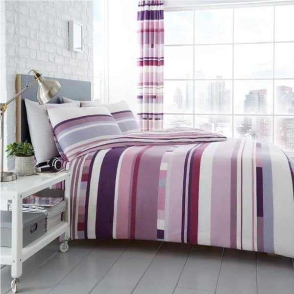 Chester Stripe Duvet Cover Purple