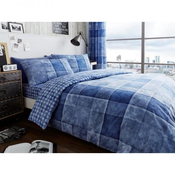 Denim Check Duvet Cover Blue