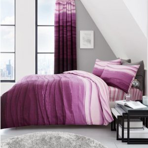 Wave Ombre Striped Duvet Cover Purple