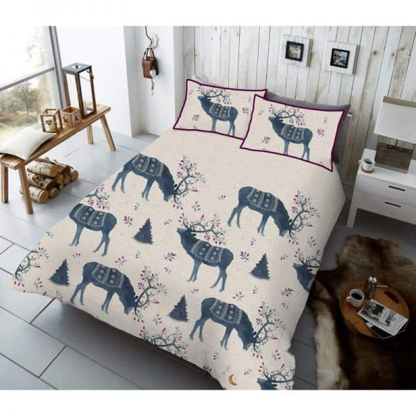 Winter Berry Stag Duvet Cover Blue