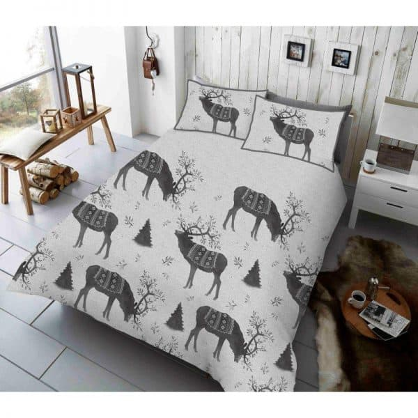 Winter Berry Stag Duvet Cover Grey