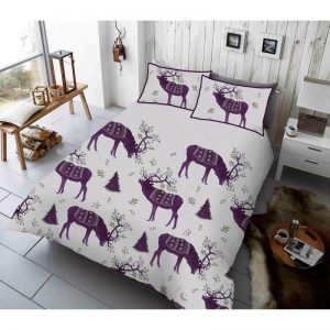 Winter Berry Stag Duvet Cover Purple
