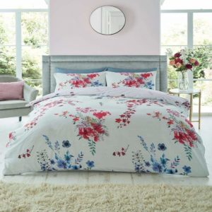 Emilia Floral Duvet Cover Set Grey